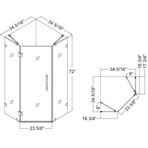 dreamline shen 2234340 prismlux neo angle 34 5 16 x 34 5 16 inch frameless hinged shower