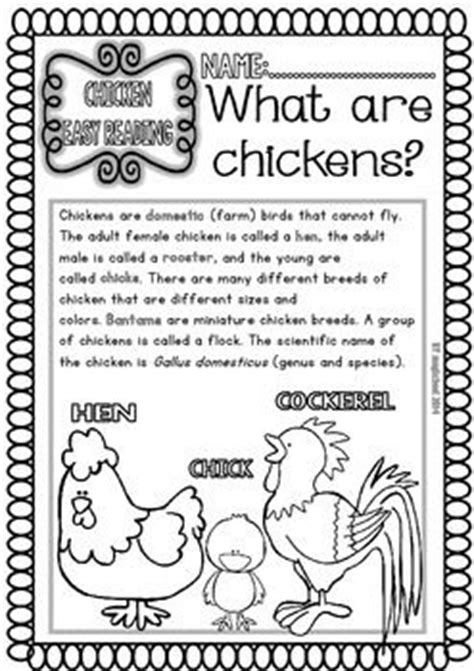 chicken ready  print easy readings  worksheets