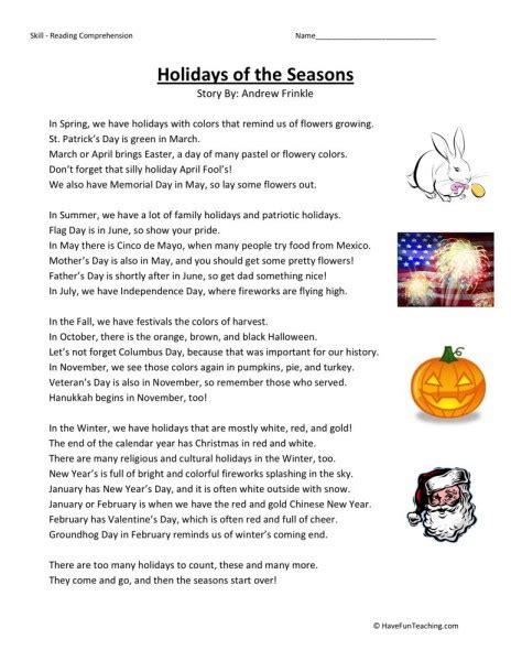 Reading Comprehension Worksheet  Holidays Of The Seasons