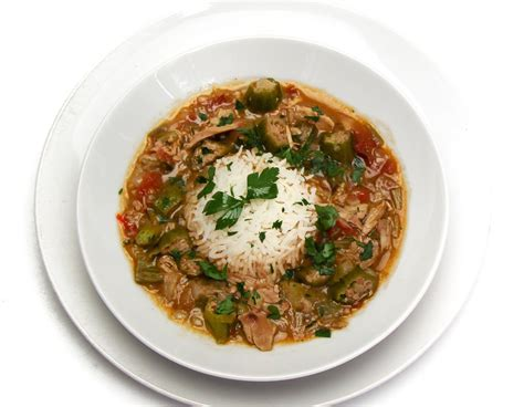 chicken gumbo andouille sausage and chicken gumbo with fried okra recipe dishmaps