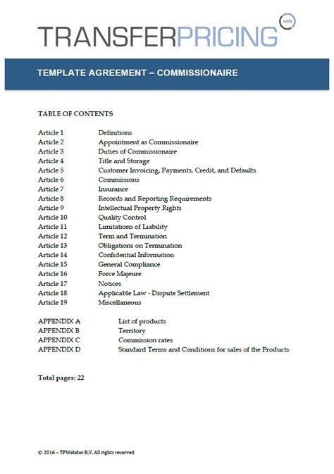 commissionaire agreement template transfer pricing web