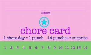 Free printable chore punch cards for Printable punch cards