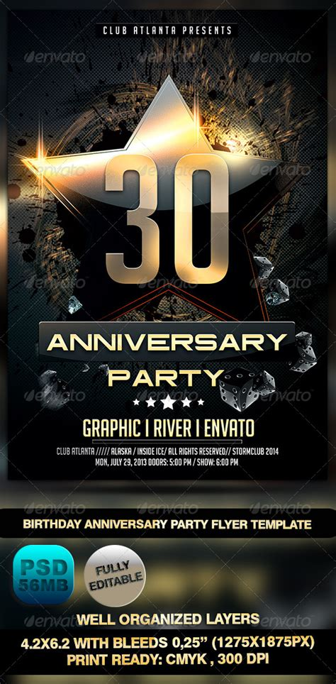 birthday anniversary party flyer template  stormclub