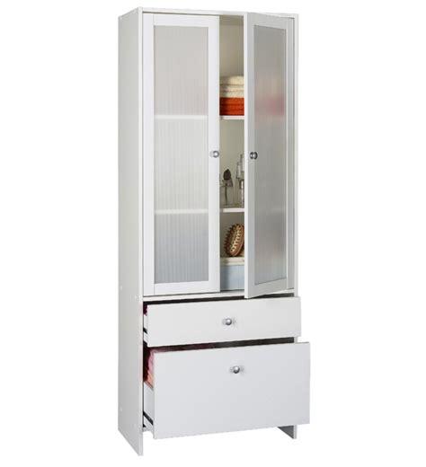 cuisines rangements bains colonne 2 portes 2 tiroirs blanc