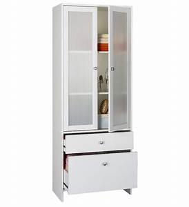 Colonne 2 portes 2 tiroirs bikini blanc for Petite cuisine équipée avec meuble colonne salle a manger