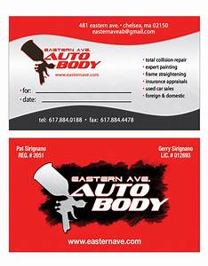 Graphic illusions studios business card packaging and for Auto body shop business cards