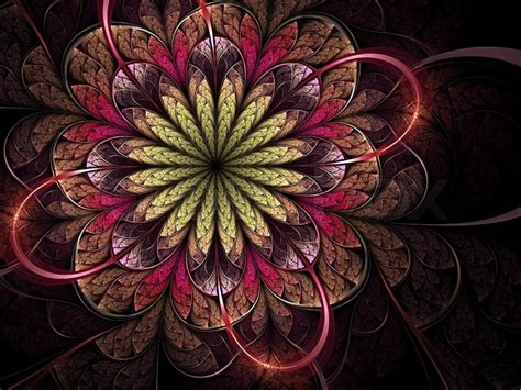 bright colorful flower fractal design stock photo