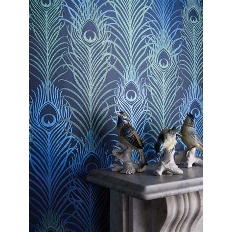 papier peint peacock bleu nuit matthew williamson