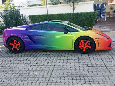 rainbow lamborghini rainbow theme lamborghini on road drivespark