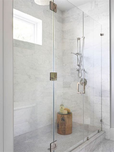 walk  shower  marble faux tiled wall bathroom