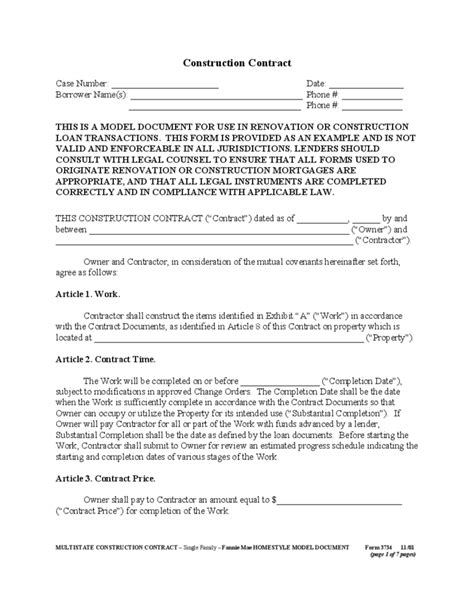 general construction contract form