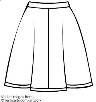 skirt clipart black and white a line skirt outline vector graphic