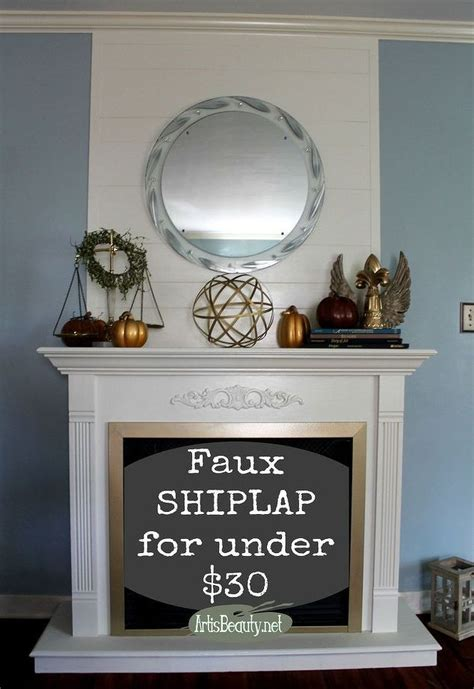 Cheap And Easy Faux Ship Lap  Ee  Fireplace Ee   Makeover Diy