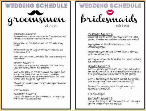 Wedding Day Schedule Of Events Template by Wedding Schedule Pertamini Co