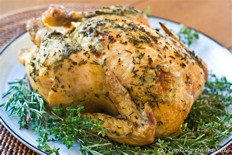 herb roasted chicken recipe herb crusted roast chicken cooking on the side