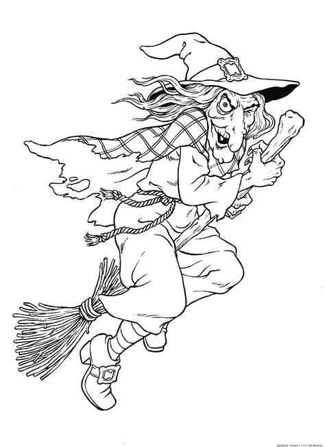 dibujos de brujas  escoba  colorear