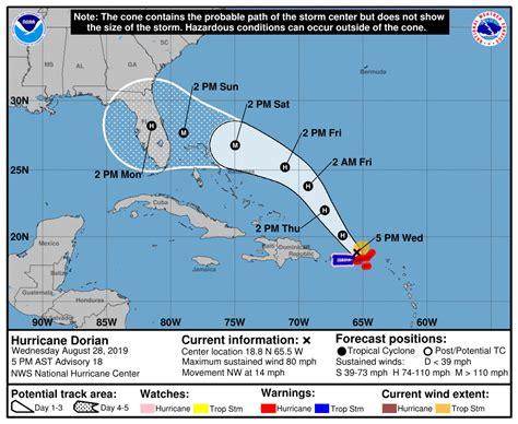 hurricane dorian track  forecast latest updates time