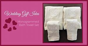 Wedding gift idea monogrammed bath towels sew creative for Embroidered towels for wedding gift