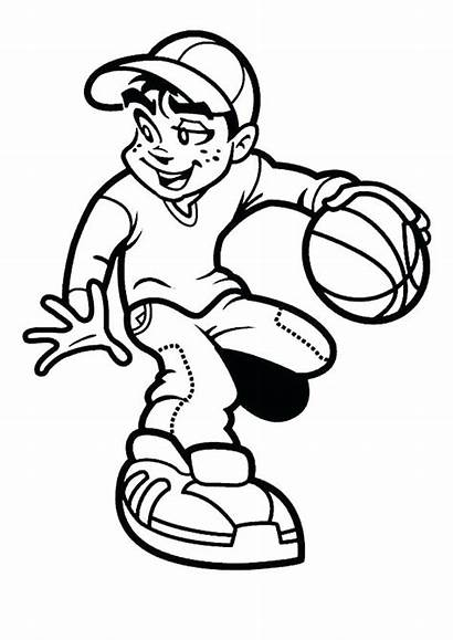 Basketball Coloring Pages Boy Boys Playing Clipart