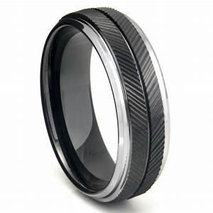black tungsten carbide chevron wedding band ring With carbide tungsten wedding rings
