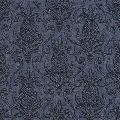 Jacquard Upholstery by E521 Blue Pineapple Durable Jacquard Upholstery Grade