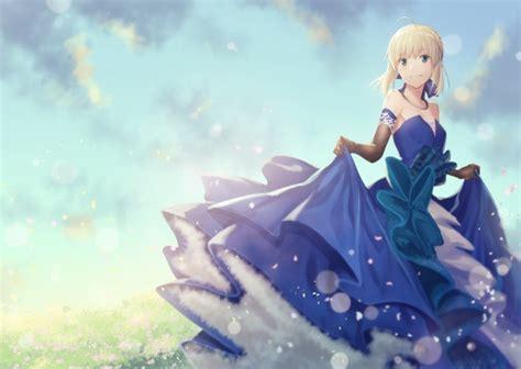 wallpaper fate grand order saber blonde blue dress