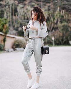 Pants tumblr grey pants joggers joggers pants sweatpants grey sweatpants sneakers white ...