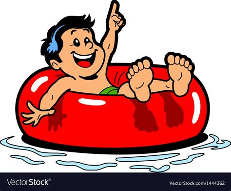 Boy Floating Inner Tube Royalty Free Vector Image