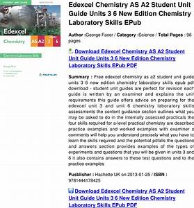 Edexcel Chemistry As A2 Student Unit Guide Units 3 6 New
