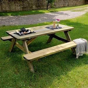 Table Bois Pique Nique : table de pique nique bois trait l180 l160 cm 185 x 75 x 18 cm gamm vert ~ Melissatoandfro.com Idées de Décoration