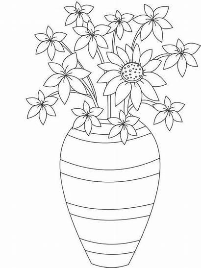 Flores Jarron Flower Dibujos Coloring Colorear Vase