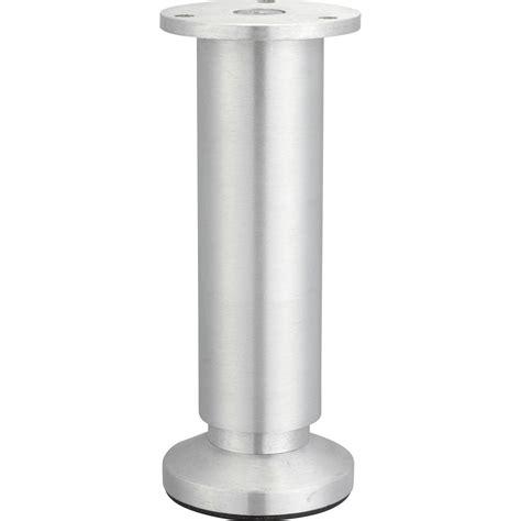 cuisiniste guing pied de meuble cylindrique réglable aluminium brossé gris