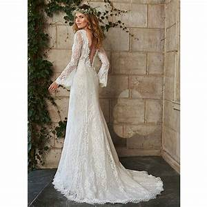 Hot bohemian Wedding Dress Illusion Long Sleeve Backless ...