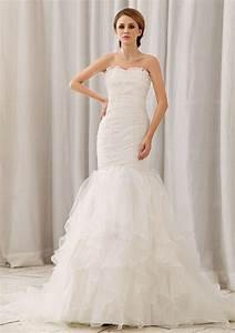 white mermaid wedding dress with ruffles and ...
