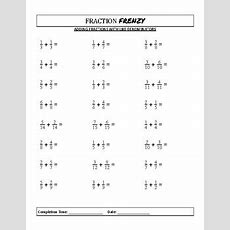 Fraction Frenzy Adding And Subtracting Fractions Worksheets For 5th7th Grade