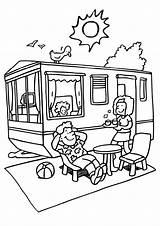 Camping Coloring Trailer Rv Van sketch template