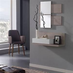 Console Murale Suspendue : meuble d 39 entr e blanc ch ne clair miroir lisia petits meubles ~ Teatrodelosmanantiales.com Idées de Décoration