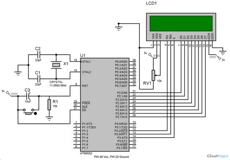 Lcd Wiring Diagram by Lcd Interfacing With 8051 Microcontroller 89s52