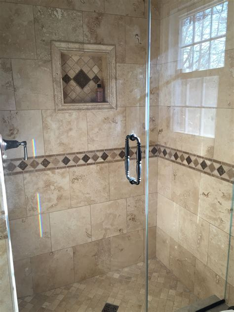 Bathroom Shower Tile Designs by My Bathroom Renovation Travertine Tile And Custom