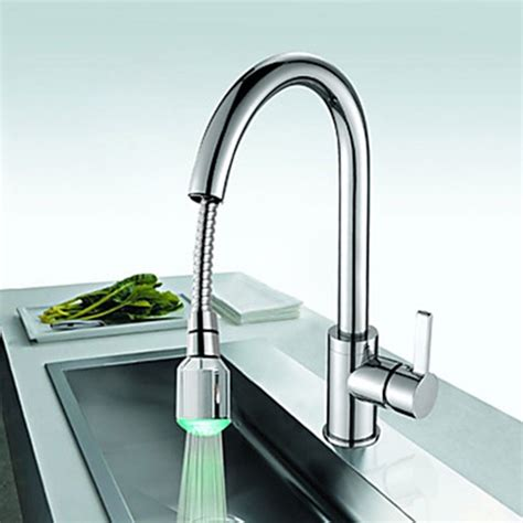 led kitchen faucet solid brass kitchen faucet with color changing led light faucetsuperdeal com