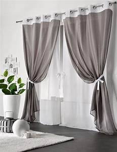 Double Rideau Blanc : rideau double voilage gris et blanc sosturista ~ Nature-et-papiers.com Idées de Décoration