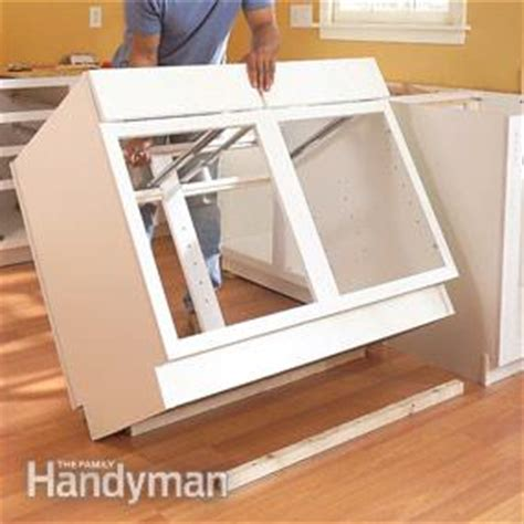 diy kitchen cabinet install how to install kitchen cabinets the family handyman 6822