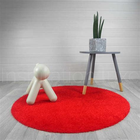 tapis rond lavable en machine rouge id 233 al pour salle de
