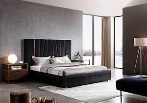 Modrest Evonda Modern Black Velvet  U0026 Brass Bed - Beds
