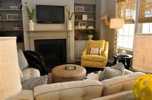 yellow and gray living room transitional living room