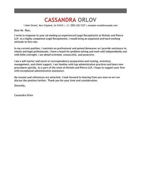 Optometry Resume Cover Letter by Cover Letter 42 Receptionist Cover Letter Exles