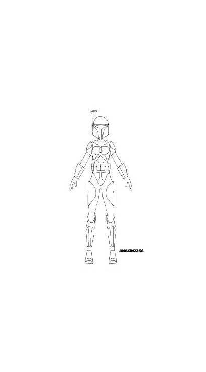 Mandalorian Armor Female Template Lineart Wars Star