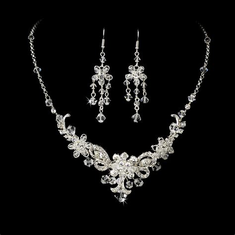 Wedding Jewelry by Silver Bridal Jewelry Set And Tiara Of Swarovski