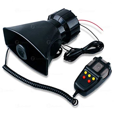 Change Car Horn Sound by Zone Tech 5 Tone Sound Car Siren Vehicle Horn With Mic Pa