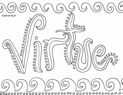 Coloring Pages Doodle Virtue Alley Printable Word